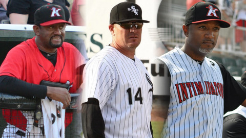 Intimidators 2014 Field Staff from left to right: pitching coach Jose Bautista, manager Pete Rose Jr., and hitting coach Rob Sasser.