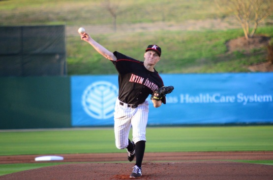 James Dykstra worked 6.2 strong innings of two-hit ball as the Intimidators dropped the Crawdads, 1-0, on April 9, 2014.