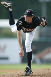 Kannapolis Intimidators starting pitcher Brandon McCarthy follows through on a pitch vs. Hickory, June 20, 2004.
