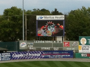 The scoreboard in Hagerstown.