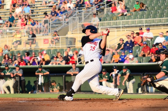 Jeremy Dowdy is batting over .300 in 48 games with Kannapolis in 2014.