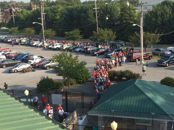 Fans lined the block to receive their Bryce and Bryan Harper bobble heads, given to the first 1,000 fans into Municipal Stadium.