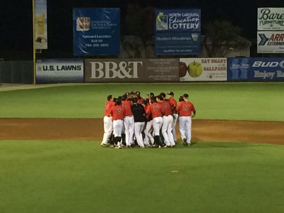 John Ziznewski and the Intimidators celebrate after a walk-off win over Greensboro on Friday.